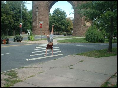 Hand-walk road crossing in Hartford, Connecticut