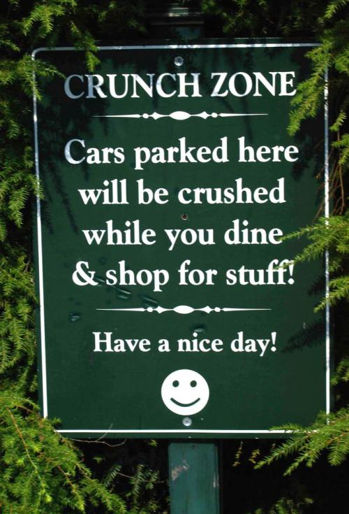 Sign: Crunch Zone (no parking here)