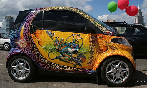 Painted Smart car