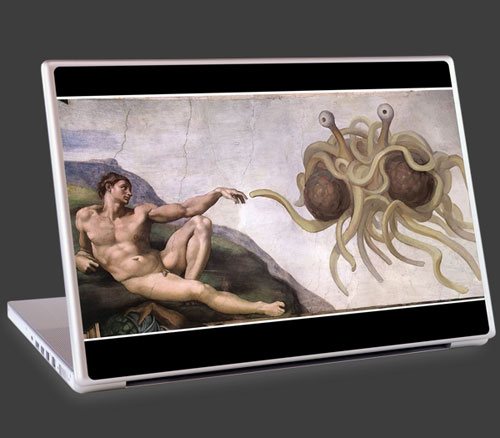 Flying Spaghetti Monster laptop cover