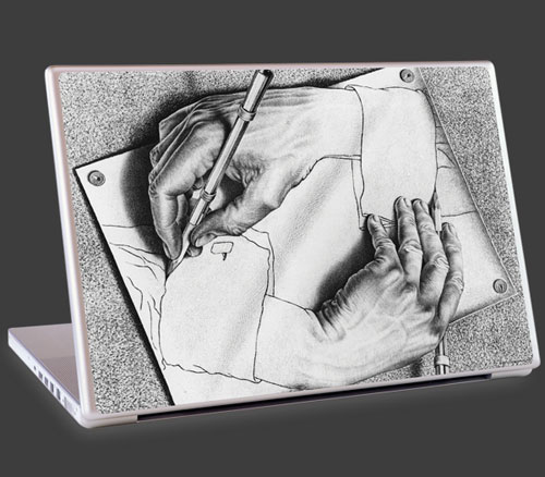 M.C. Escher Drawing Hands artwork on the laptop cover