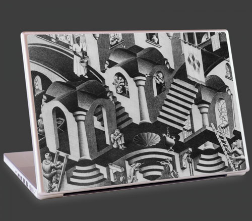 M.C. Escher Concave and Convex artwork on the laptop cover