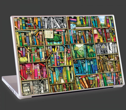 Colin Thompson Bookshelf laptop artwork