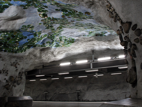 """Näckrosen (""""The Water Lily"""") subway station in Stockholm"""