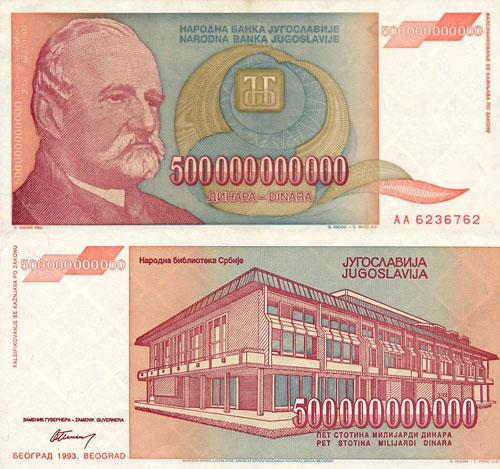 500 billions Yugoslavian Dinaras