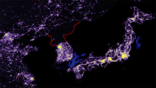 North Korea night map