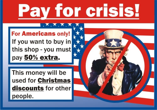 Pay for crisis sticker