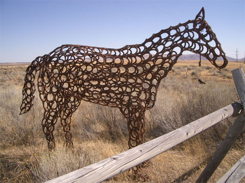 Horse statue made of horseshoes, Alabama US