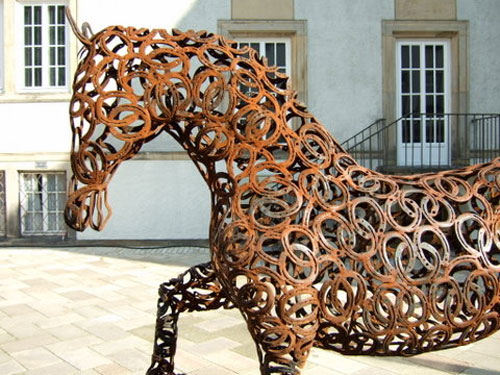 Horse statue made of horseshoes in Germany
