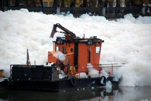 River in foam