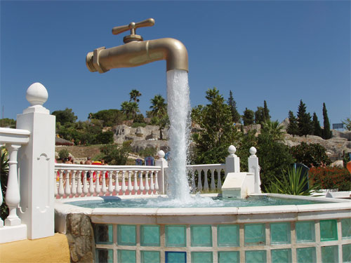 Magic tap fountain in Cadiz Spain