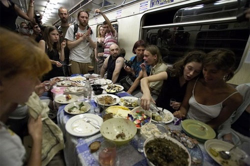 Moscow Metro wedding party