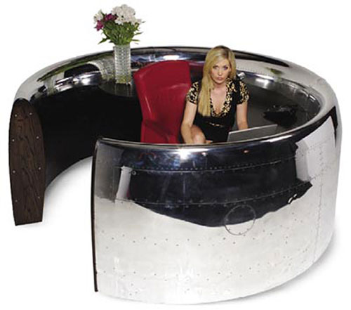 A table made of Boeing 747 engine cover