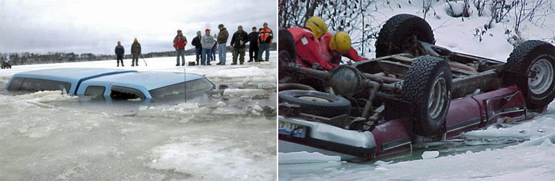 Ice is a serious business. Don't drive on ice.