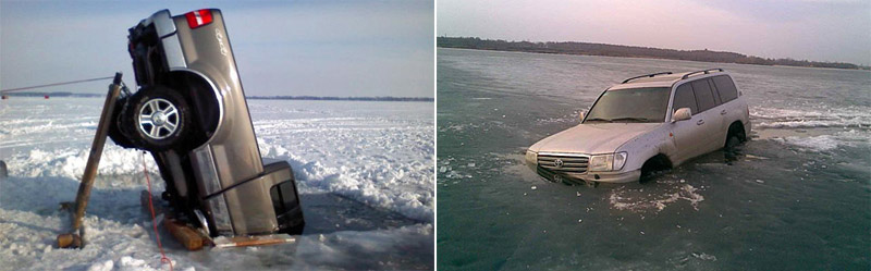 Pickup truck and SUV half sunk in the ice