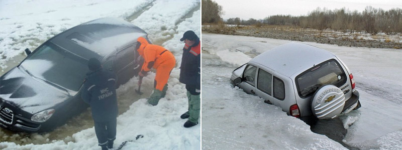 SUVs fell through the ice