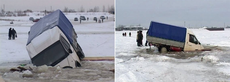 Truck fell into the icehole
