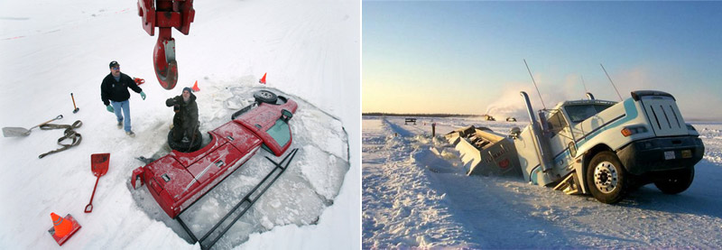 Trucks fell through the ice on Alaska