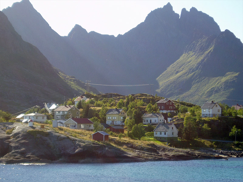 View on the Lofoten mountains from the village A