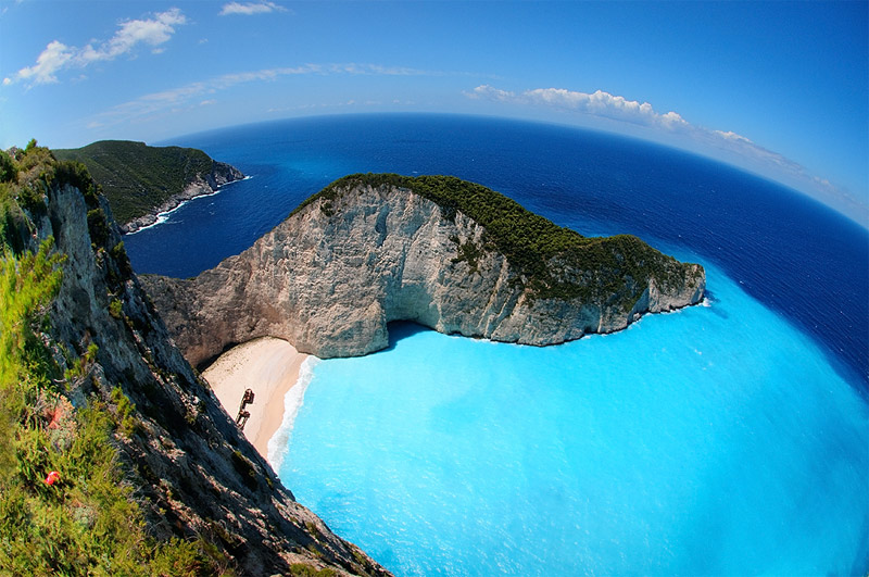 Panorama of the Navagio beach, where the wrecked Panagiotis lies
