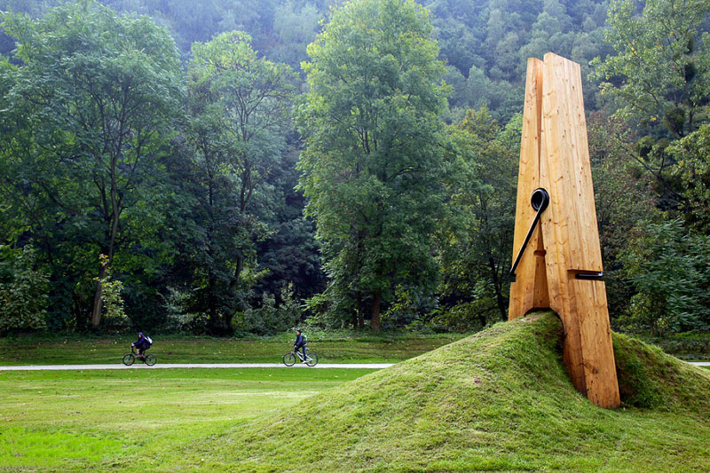Giant clothespin in the Belgian park