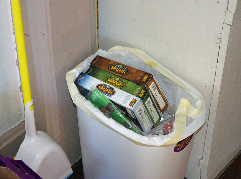 Threw out the WoW boxes, put it into the garbage