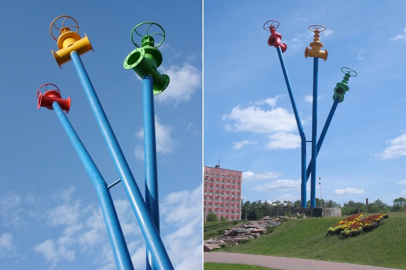 Watermain monument composed of pipes and valves in Mytischi, Russia