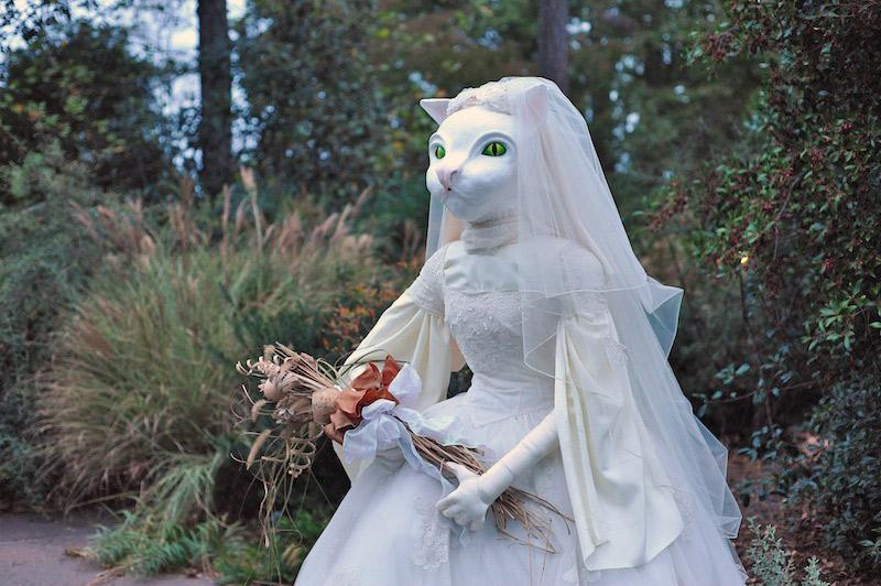 Cat-bride scarecrow in the Atlanta Botanical Garden