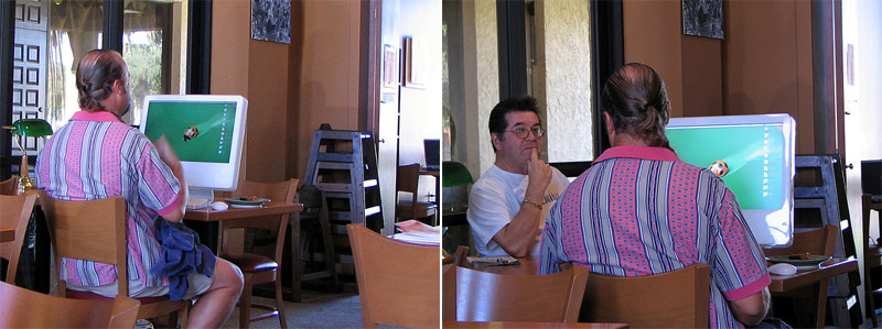 2. Guy is using his iMac G5 in a café back in 2005. Photos by Tian