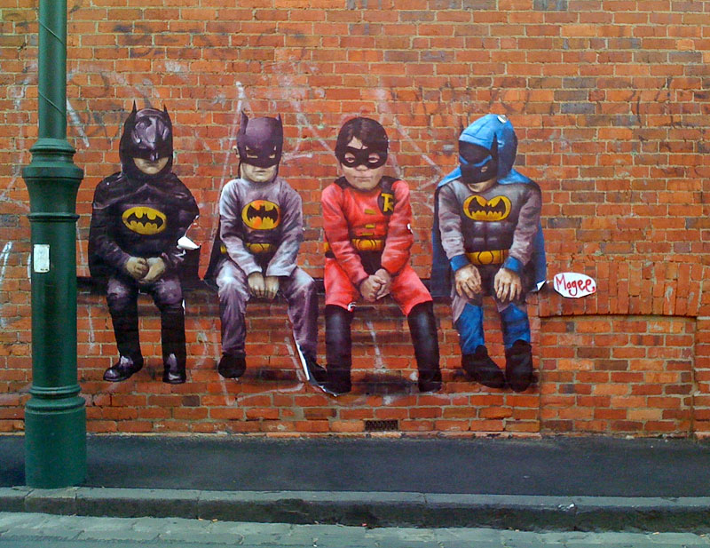 3. Adolescent batmen graffiti