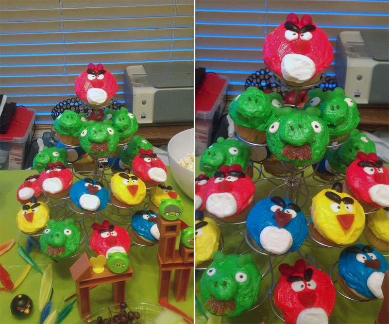 2 & 3. Angry Birds cupcakes
