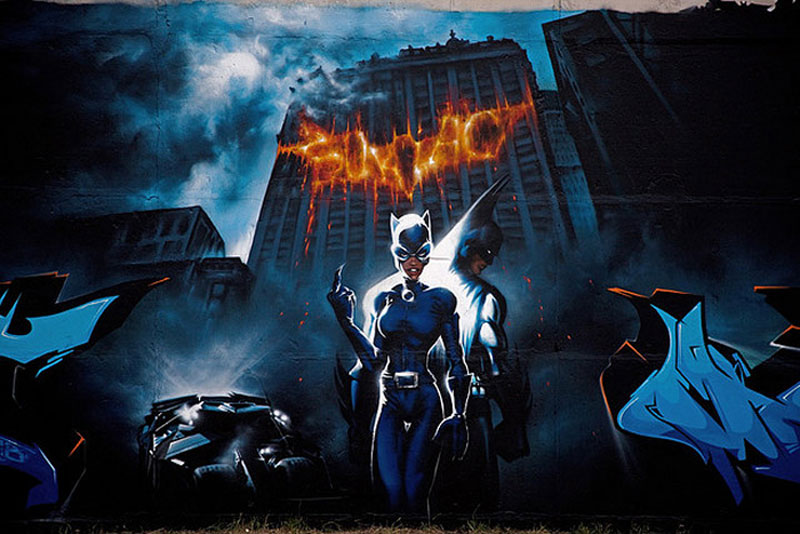 5. Batman vs Catwoman graffiti by Mad C