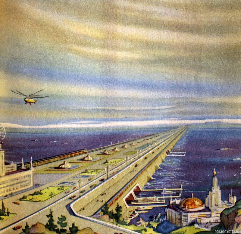 The project of the bridge-dam between USA and Russia as published in the 1961 soviet book