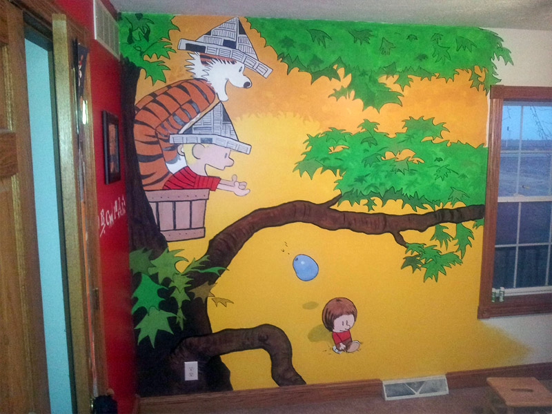 7. Calvin and Hobbes themed kids' room