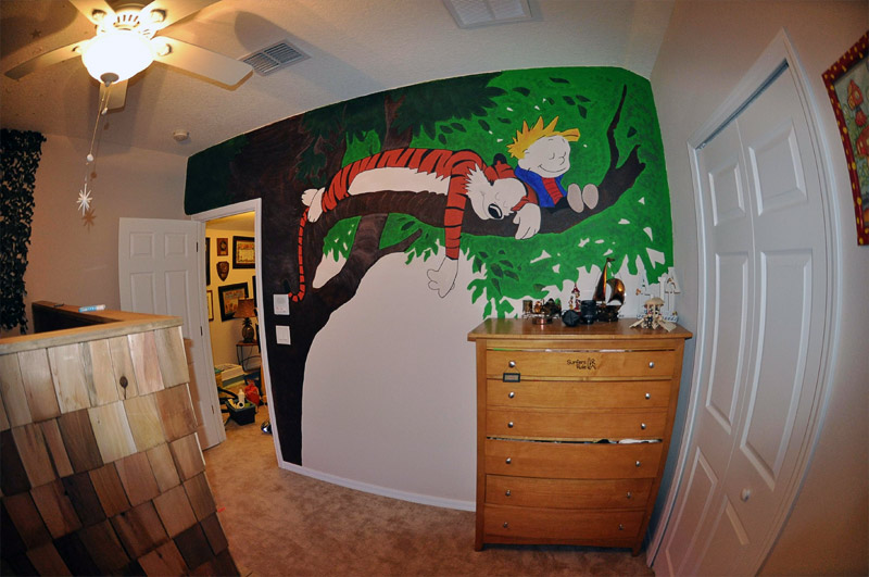 2. Calvin and Hobbes mural in the kids' bedroom