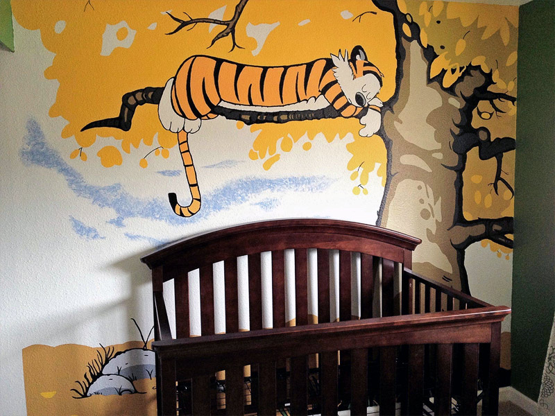 1. Calvin and Hobbes mural on the wall of the nursery