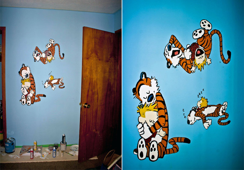 5. Calvin and Hobbes painted on the wall