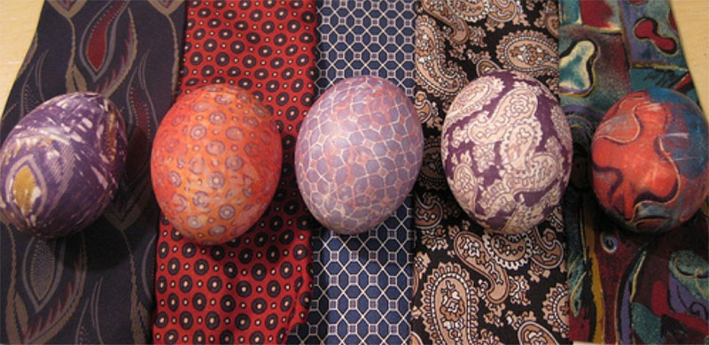 Easter eggs colored with the old silk ties
