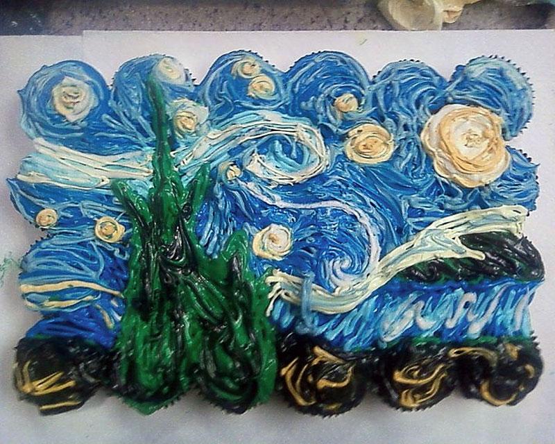 11. Van Gogh's Starry Night cupcakes