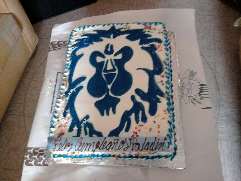 14. Homemade Alliance lion banner cake