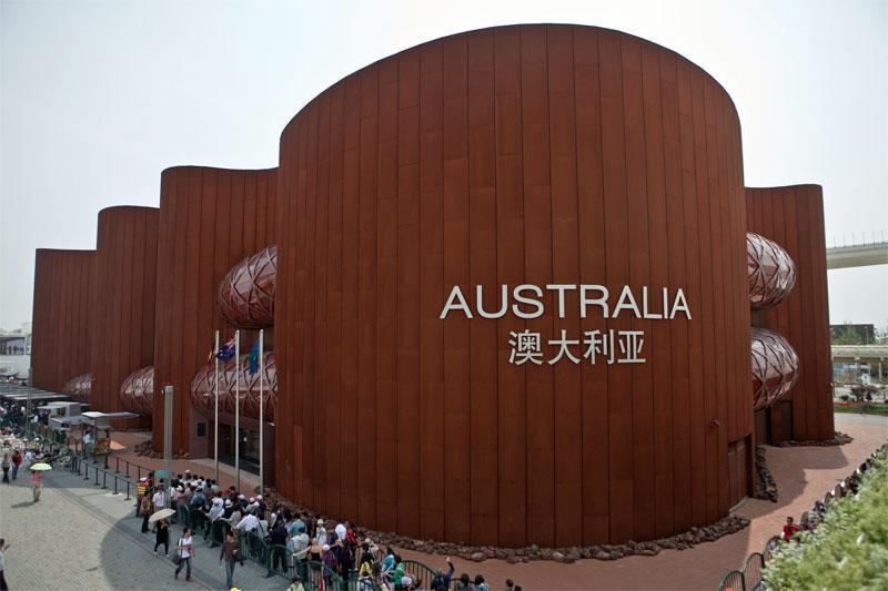 1. Australian Pavillion at the Shanghai World Expo 2010. The huge Corten-clad building. Architect: Wood Marsh