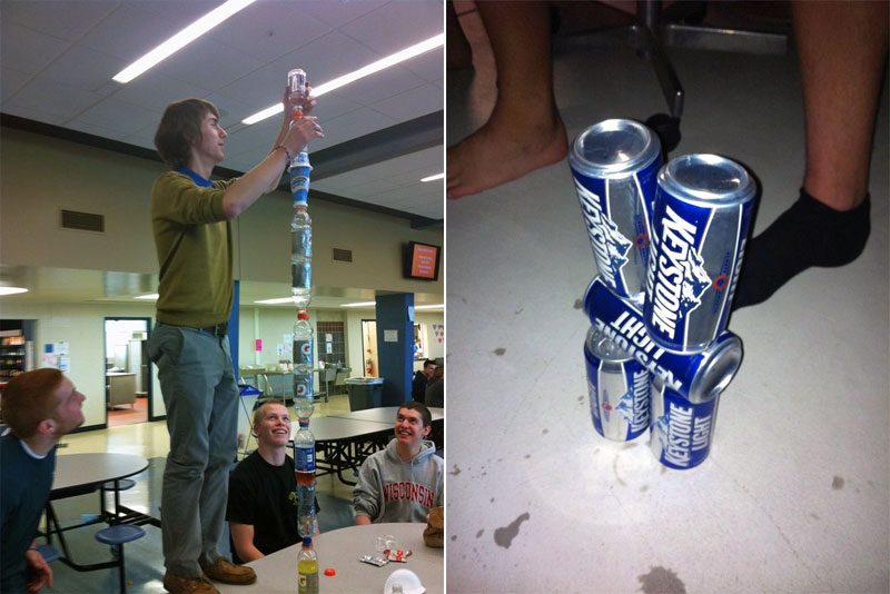 Balancing bottles and cans