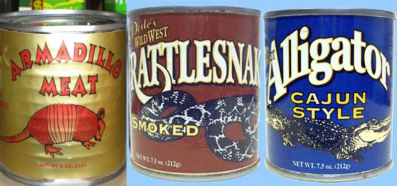 9. Straight from the Texas: canned armadillo meat, smoked rattlesnake and alligator
