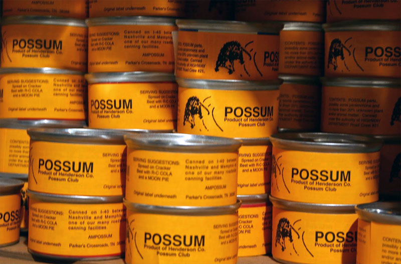 7. Weird canned food could be found everywhere. Here is the canned possum from America