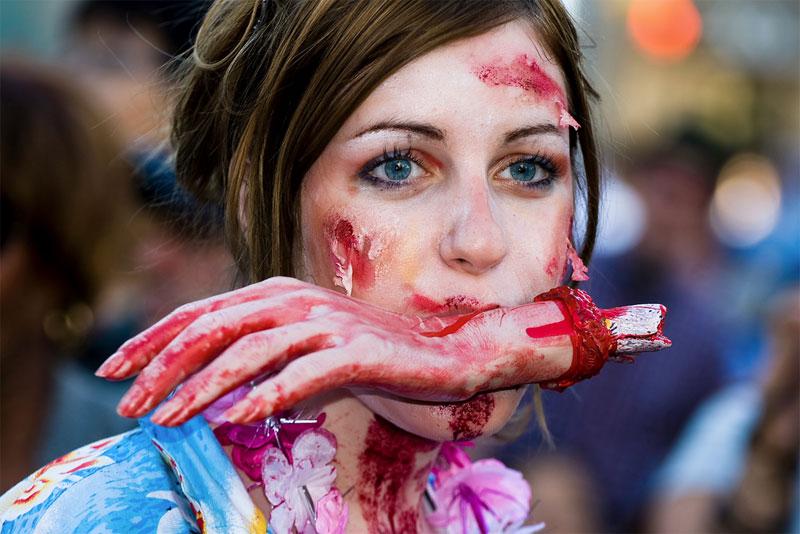 17. Chewed off hand zombie makeup at the Toronto Zombie Walk 2009. Photo by Josh Jensen
