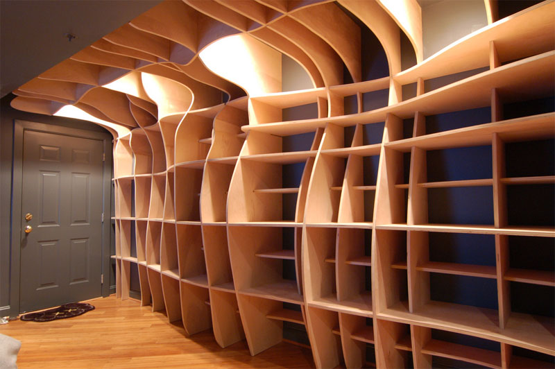 1. Curved bookshelves by dbd Studio