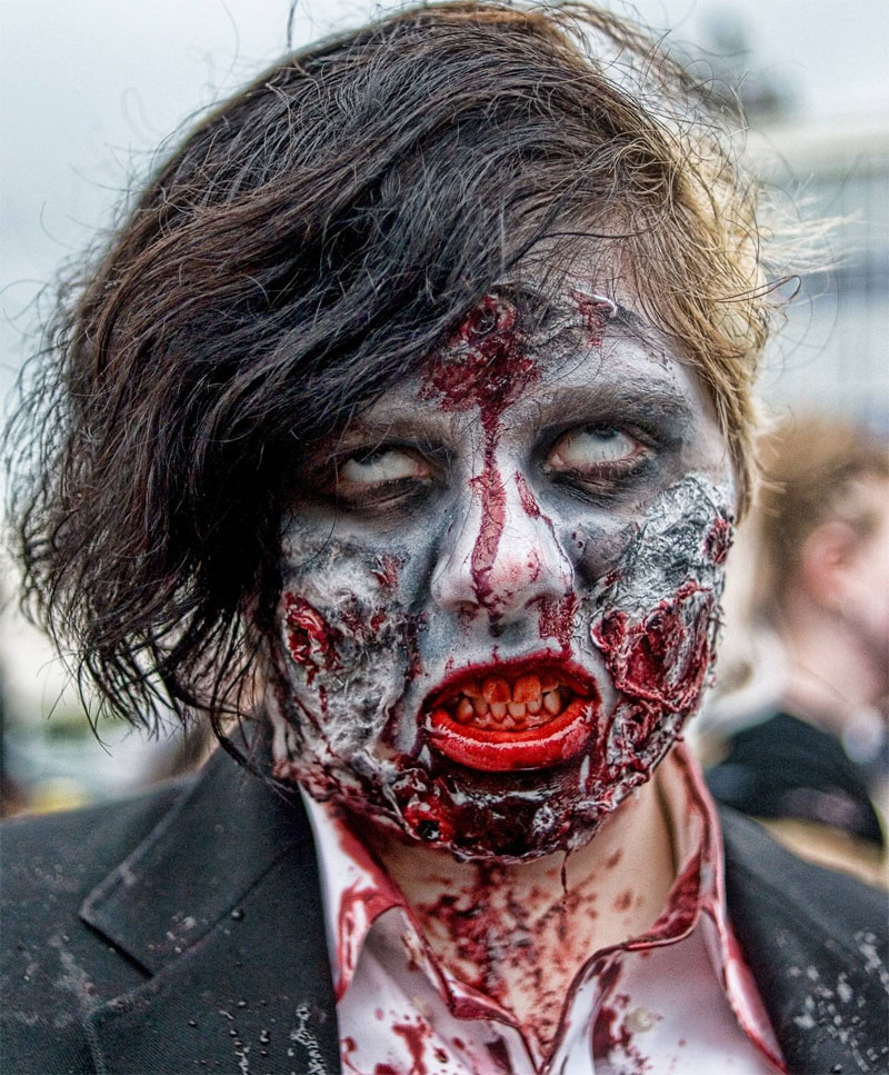 4. A very detailed zombie makeup