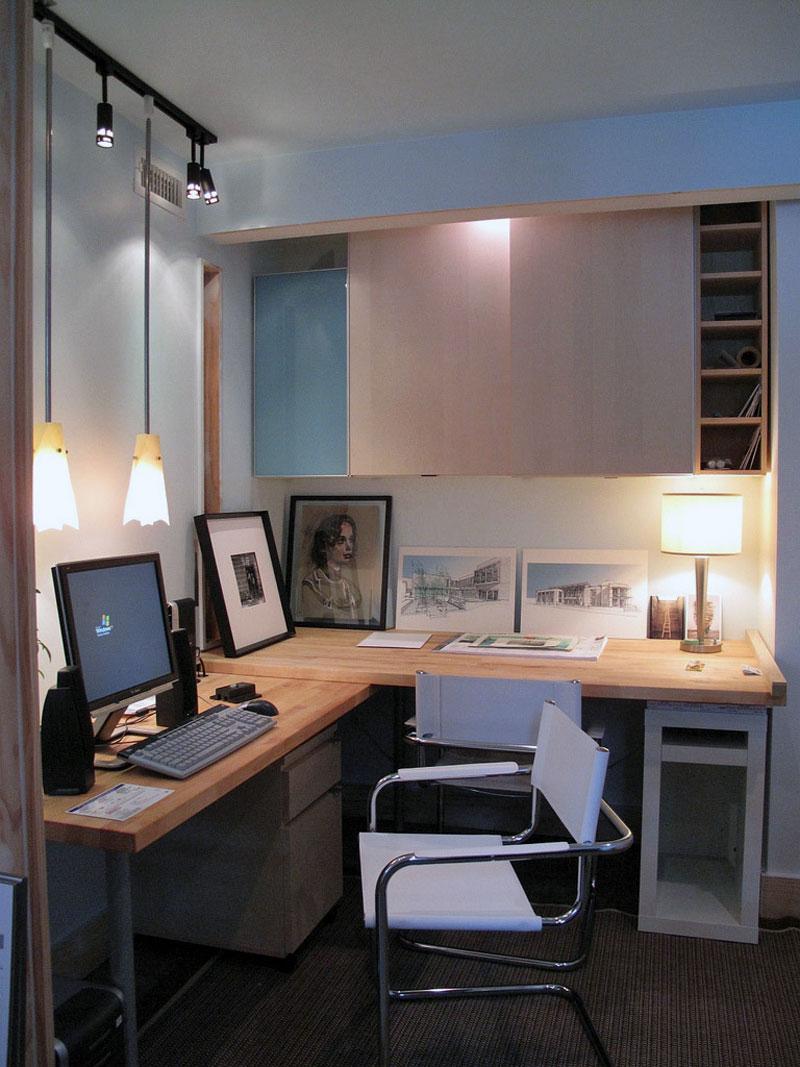 4. Artistic working corner with the hardwood desk