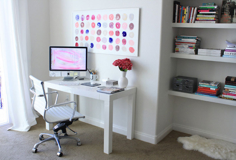 8. White and polka dots decorated home office