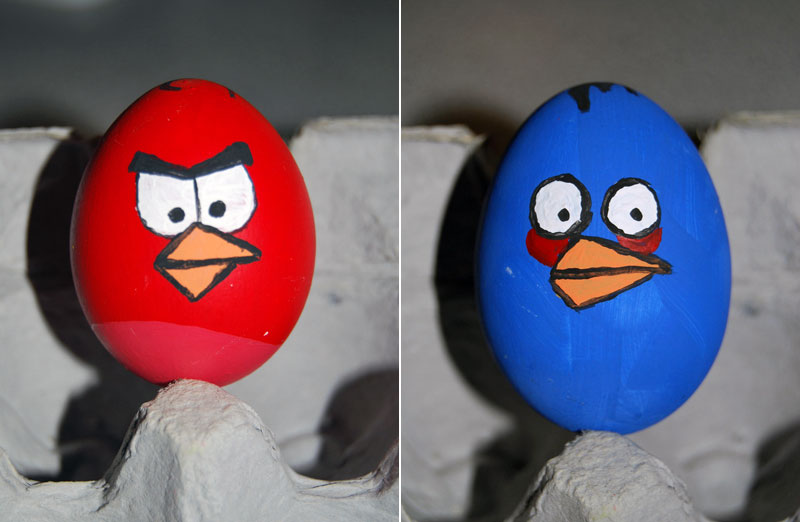 Red and Blue birds Easter eggs